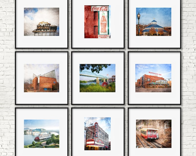 Chattanooga Photography Print or Canvas Set, Chattanooga Art Prints, Framed Chattanooga Art, Chattanooga Canvas Set, Choo Choo, Delta Queen