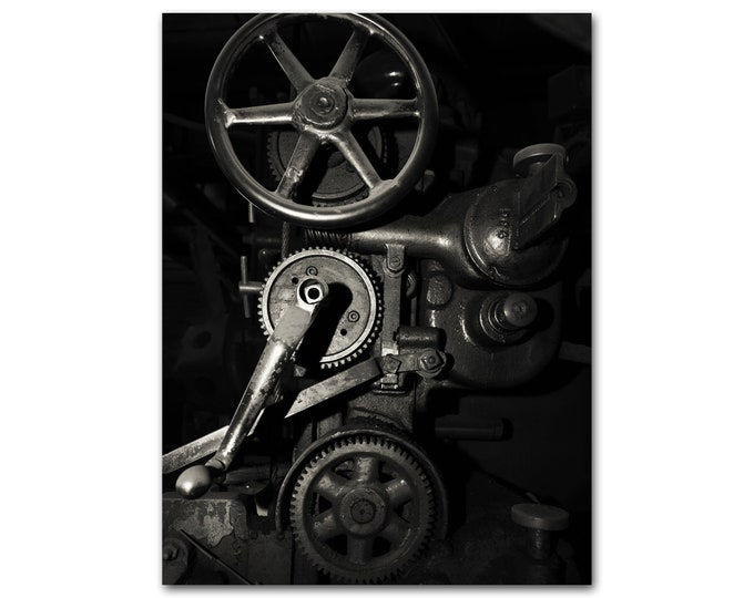 Industrial Gears Print, Vintage Machines, Red Mid Century Wall Art, Black & White and Sepia Options, Canvas and Framed Print Available
