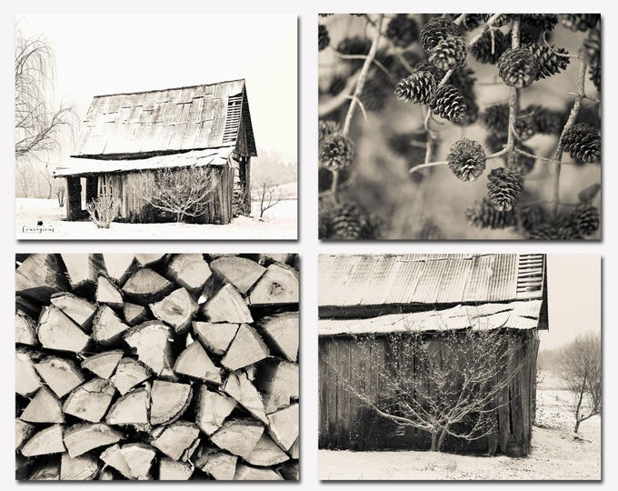 Rustic Barn Photography Winter Black & White Set of Four Farmhouse Decor Fixer Upper Wall Art Country Decor Prints, Framed Prints, Canvas