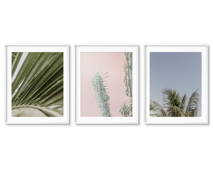 Tropical Beach Prints, Palm Tree Photography, Pink and Green Botanical Prints, Green Coastal Decor, Beach Canvas Set, Palm Tree Wall Art