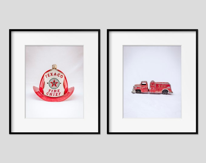 Vintage Firefighter Wall Art, Fire Chief Hat, Red Firetruck, Fireman Boys Room & Nursery Wall Decor, Canvas and Metal Print Sets Available