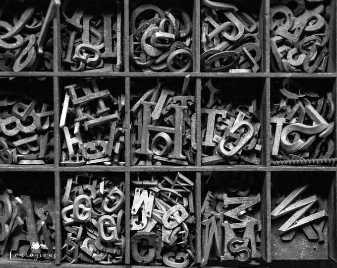 Letters Wall Art Black & White Photography Alphabet Letterpress Neutral Rustic Office Industrial Decor Print Canvas 30x24 24x20 20x16