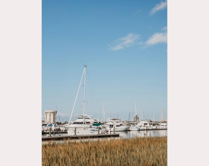 Charleston Photography Print, White Boats, Charleston Harbor, Blue & White, Coastal Wall Art, Sea Grass, Custom Framed Print Available