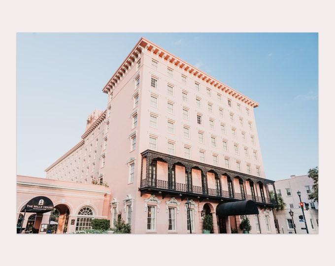 Charleston Photography Print, Mills House Hotel, Pink Wall Art, Palm Trees, Large Canvas Art, Charleston Wall Art, Custom Framed Prints