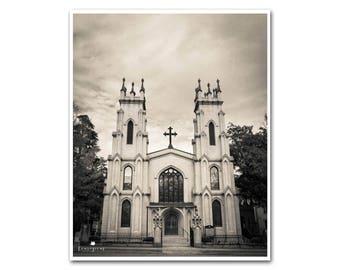 Church Photography Gothic Wall Art Black & White Picture Rustic Home Decor Columbia South Carolina Print Canvas 40x60 30x40 24x30 20x24