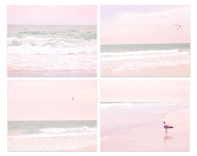 Beach Photography Prints, Pastel Ocean Art, Beach Decor, Coastal Photography, Pastel Pink, Framed Beach Prints, Pastel Water Canvas Set of 4