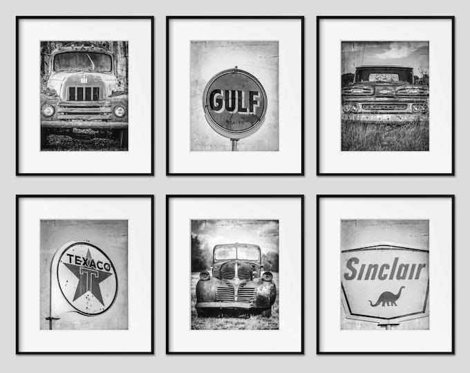 Vintage Trucks Wall Art Decor, Vintage Gas Signs, Boy Room Decor, Rustic Car Wall Art, Trucks & Cars Nursery Wall Art Decor, Print Set of 6