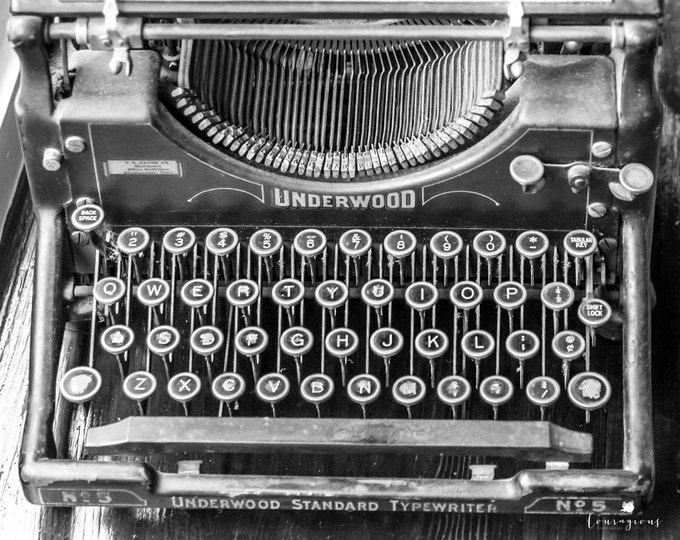 Vintage Typewriter Photography Black & White Monochrome Wall Art Decor Writing Keys Letters Print Canvas 30x24 24x20 20x16