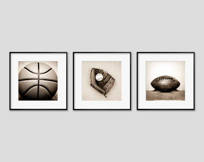 Sports Themed Wall Art Prints, Vintage Baseball & Football Decor for Boy's Room. Coach, Office or Game Room Canvas, Metal or Wood Set of 3.