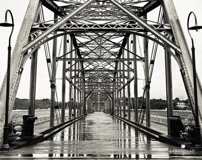 Bridge Wall Art, Walnut St Bridge, Chattanooga Photography, Black & White Geometric Art, Framed Chattanooga Print, Large Canvas Art