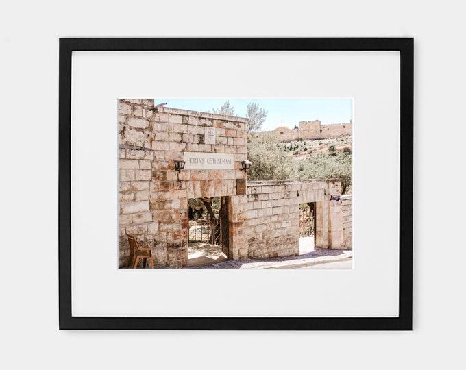 Israel Travel Wall Art Decor in the Ancient City of Jerusalem. Garden of Gethsemane Gate Entrance, Old City Jerusalem Walls Print or Canvas.