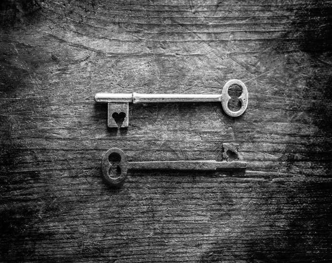 Skeleton Key Photography Print, Eternal Hearts, Wedding Gift, Keys with Hearts, Wedding Gift, Framed Keys Print, Skeleton Key Canvas