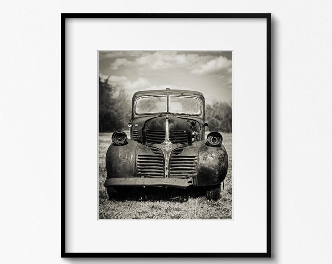 Vintage Dodge Truck Photography Print, Classic Car Picture, Rustic Man Cave Art, Garage Decor, Framed Dodge Truck Print, Large Truck Canvas