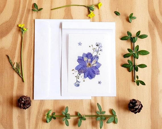 PRESSED FLOWER CARD, pressed flower art, handmade cards, greeting cards, wedding card, birthday card, flowers card, botanical art, Larkspur