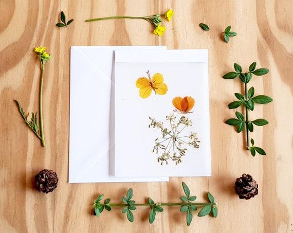 HANDMADE CARDS, pressed flower art, pressed flower cards, blank cards, seasons greeting, bride and groom card, wedding card, notecards, love