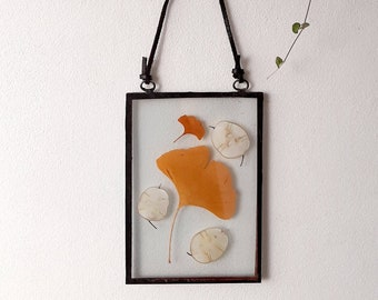 Real Gingko Leaf glass frame, pressed flower art, handmade wall hanging decor, stained glass, dried wildflowers, minimalism, herbarium