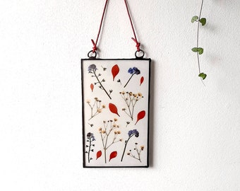 Garden flowers glass frame, wall hanging decor, hanging stained glass frame, real flowers wall art, pressed flower art, mothers day gift