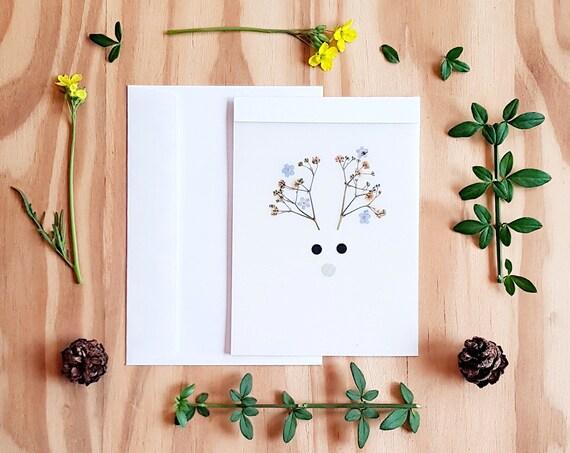 CHRISTMAS CARDS, greeting cards, seasons greetings, animal cards, Santa reindeer, deer antlers, handmade cards, xmas cards, Rudolph card