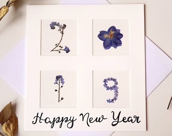 Happy New Year card 2019, unique new year card, season's greetings pressed flower card, handmade greeting cards, large cards, botanical art