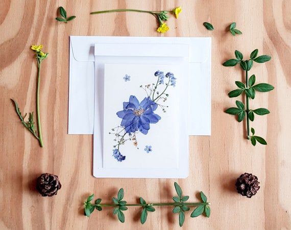 PRESSED FLOWER CARD, pressed flower art, handmade cards, greeting cards, wedding card, birthday card, floral cards, botanical art, Larkspur