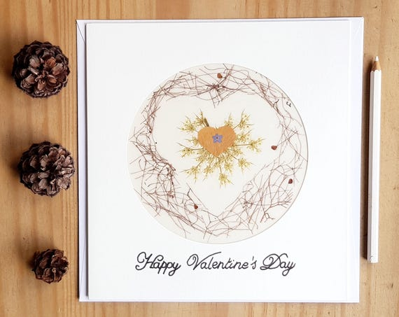 VALENTINES CARDS, Heart shape card, pressed flowers, romantic cards, love cards, large greeting card, heart card, greeting cards handmade