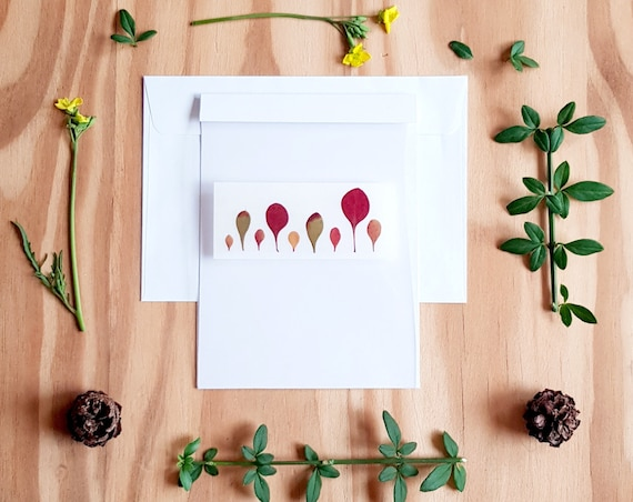 Autumn leaves, pressed flower art, pressed flower cards, blank cards, greeting cards, Autumn cards, fall cards, Autumn design, birthday card