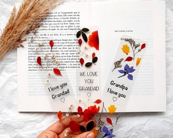 I love you Grandad bookmark, real pressed flowers, we love you grandad gifts, grandpa gift, grandfather gift, best grandad ever, grandparent