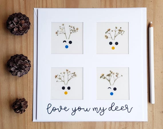 LOVE YOU CARD, greeting cards, pressed flower art, extra large cards, animal cards, Christmas cards handmade, reindeer card, deer antlers