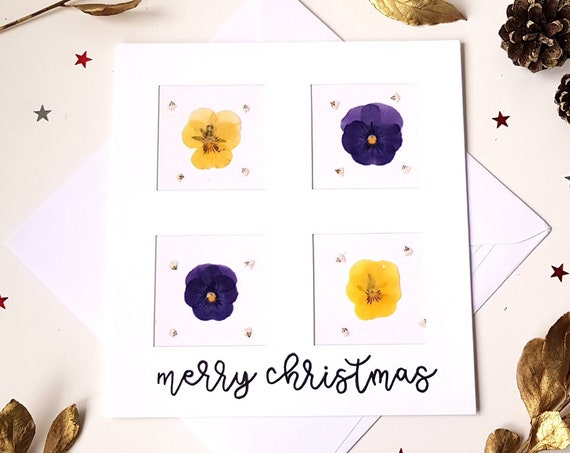 Merry Christmas card, beautiful Christmas card, handmade pressed flower card, seasons greetings card, large greeting card, floral cards