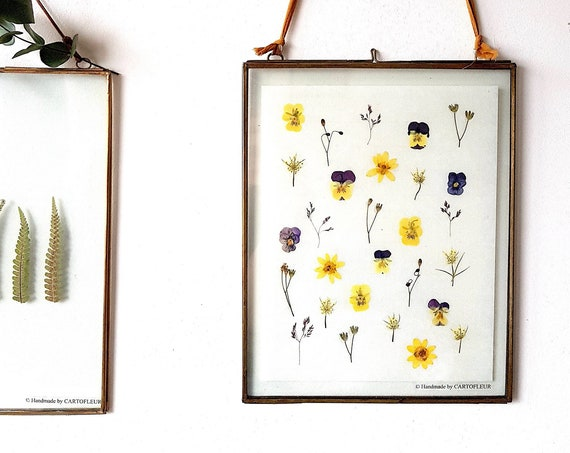Glass pressed flower frame 8x10, botanical wall art, antique brass frame hanging, botanical decor, handmade pressed wall hang picture frame