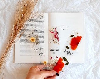 I LOVE YOU bookmark in German, Arabic, French, nature bookmark, book accessories, dried wildflowers, love in languages, Mothers day gifts UK