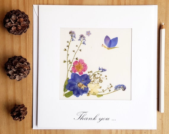 Thank you card, botanical cards, pressed flowers, thank you cards wedding, floral card, pressed flower cards, gratitude cards, flower lovers
