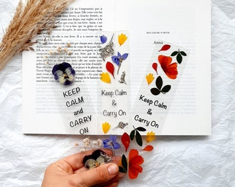 Keep Calm Carry On pressed flowers bookmark, nature bookmarks handmade, book accessories, floral bookmark, dried wildflowers, Xmas fillers