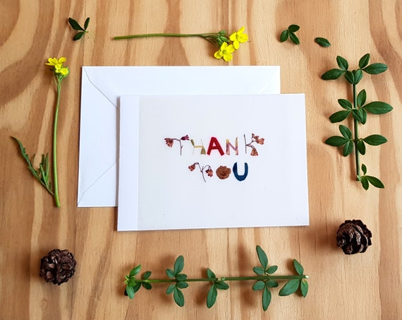 Thank you cards, handmade cards, pressed flowers, friendship card, wedding thank you cards, gratitude cards, minimalist card, flower cards