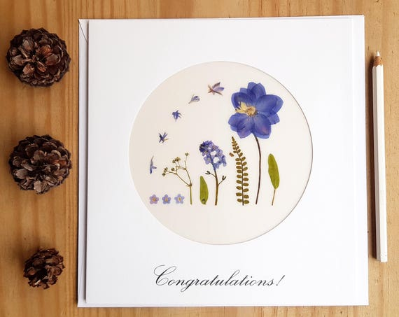 CONGRATULATIONS CARD, Love cards, 1st anniversary card, pressed flower art, wedding card, floral love letter, just married card, large cards