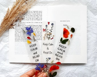 Keep calm and read on bookmark, handmade reading book mark, read a book, book accessories, pressed flowers, Christmas stocking fillers gifts
