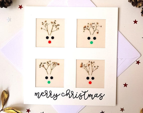 Funny Christmas card, merry christmas card, handmade pressed flowers cards, xmas cards, seasons greetings, large greeting card, Rudolph card