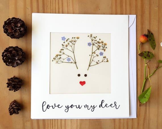 Love cards, greeting cards, pressed flowers, large cards, animal cards, Christmas cards handmade, reindeer card, deer antlers, love you card