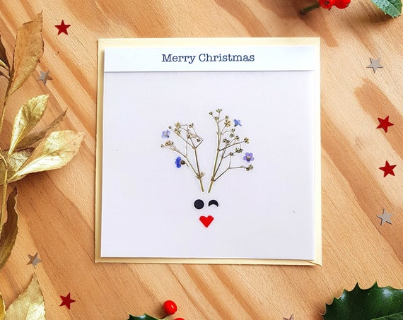 Merry Christmas cards, greeting cards, seasons greetings, animal cards, merry Christmas card, deer card, handmade xmas cards, Rudolph card