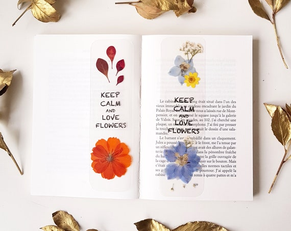 Bookmarks for books, pressed flower bookmark, book accessories, bookmark gift, bookmark quote, keep calm, Mother's Day gift, Valentines gift