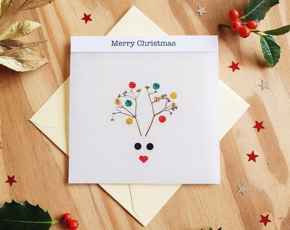 Christmas cards, greeting cards, seasons greetings, animal cards, merry Christmas card, deer card, handmade cards, xmas cards, Rudolph card