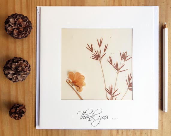 Card thank you, handmade flower cards, pressed flowers, thank you wedding cards, appreciation card, gratitude cards, animal cards, butterfly