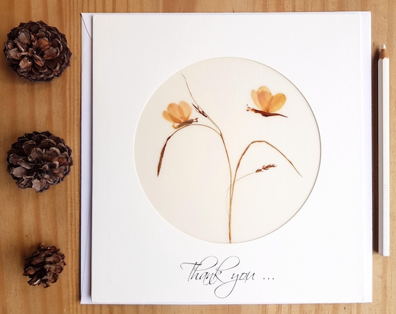 THANK YOU CARD, handmade cards, pressed flower art, thank you wedding card, thank you gift for coworkers, extra large card, pressed flowers