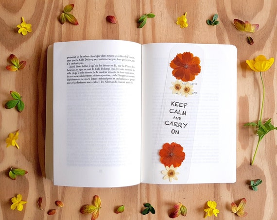 Bookmarks for books, keep calm and carry on, books gift, reader gifts, pressed flowers, planner bookmark, handmade bookmark, unique gifts