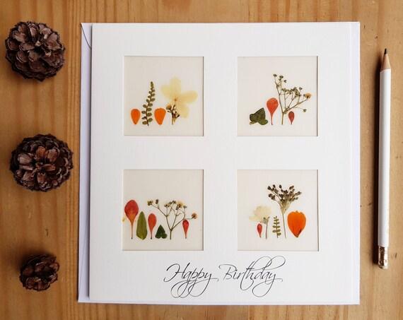 HAPPY BIRTHDAY CARD, handmade flower cards, fall cards, birthday card mum, pressed flower art, birthday card husband, autumn birthday card