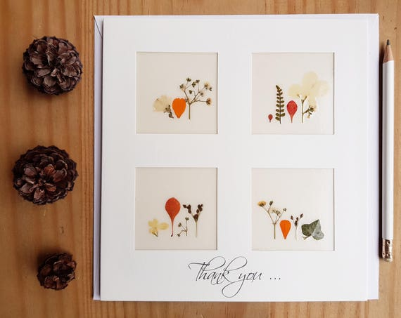Thank you cards, handmade flower cards, pressed flower art, thank you wedding cards, fall cards, autumn thank you card, appreciation card