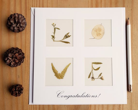 CONGRATULATIONS CARD, Love cards, 1st anniversary card, anniversary card, pressed flower art, wedding card, floral love letter, Large card