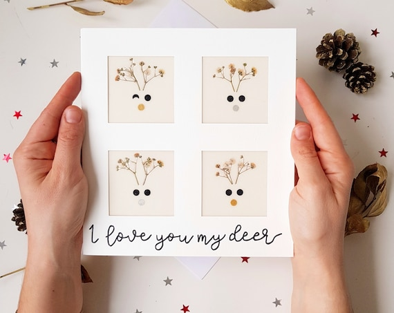 Funny Christmas cards, handmade pressed flowers cards, xmas cards, seasons greetings, I love you card, large greeting card, Rudolph card