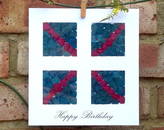 HAPPY BIRTHDAY CARD, Union Jack style, handmade, pressed natural flowers, birthday girl, birthday boy, Union flag, Blank inside, notecard