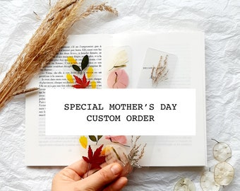 Special Mothers Day gift Custom / MADE TO ORDER bookmark, pressed flower, handmade floral bookmark, dried wildflowers, Mothers day gifts uk